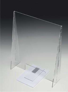 Niesschutz stehend senkrecht | 60 cm breit mit Warenausschnitt | unbedruckt